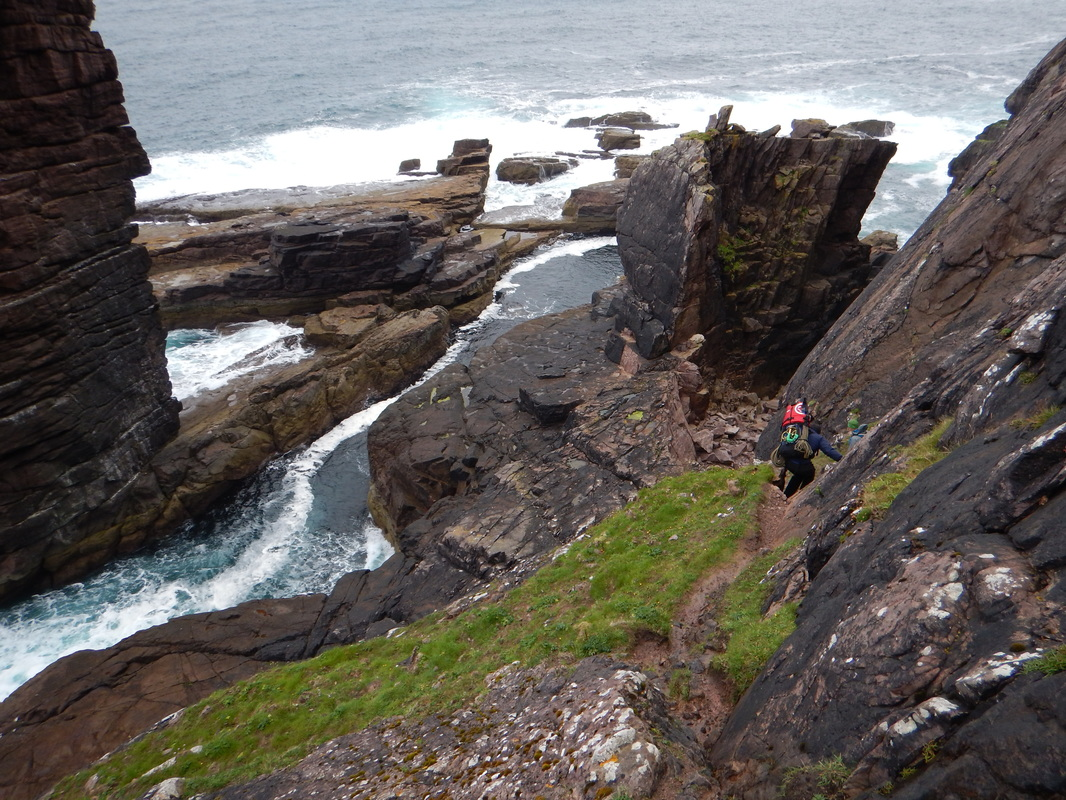 Scottish sea stacks - the descent to the Old Man of Stoer