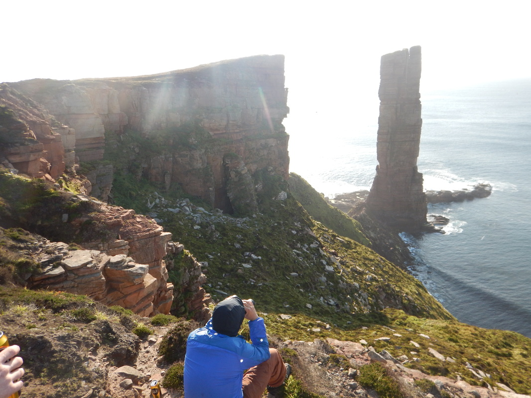 Scottish sea stacks - inspecting the Old Man of Hoy