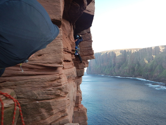Scottish sea stacks -  the crux pitch of the Old Man of Hoy