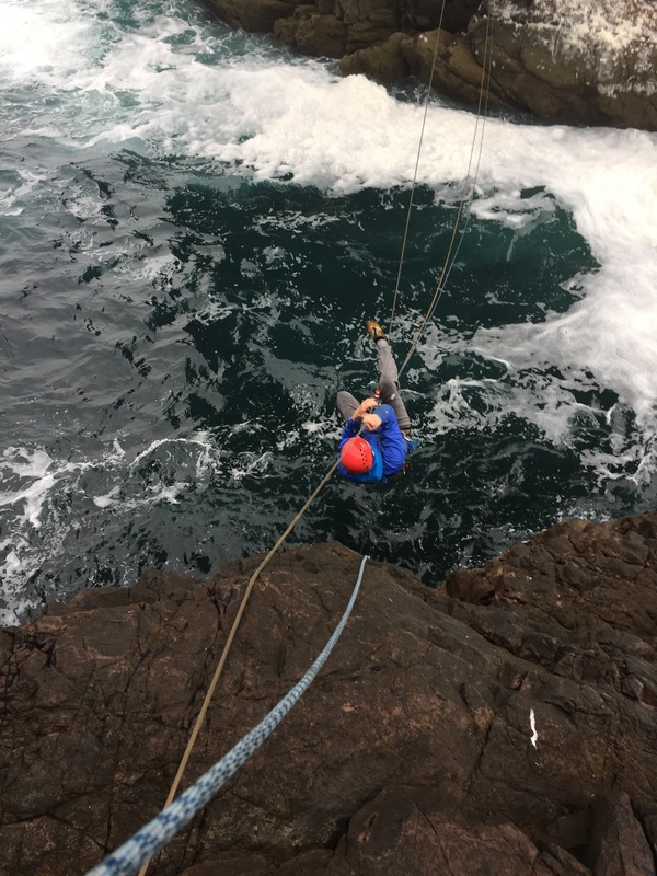 Scottish sea stacks - rope stretch on the Tyrolean traverse