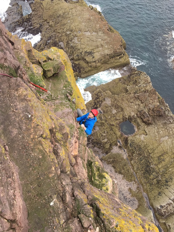 Scottish sea stacks - approaching the top of Am Buachaille