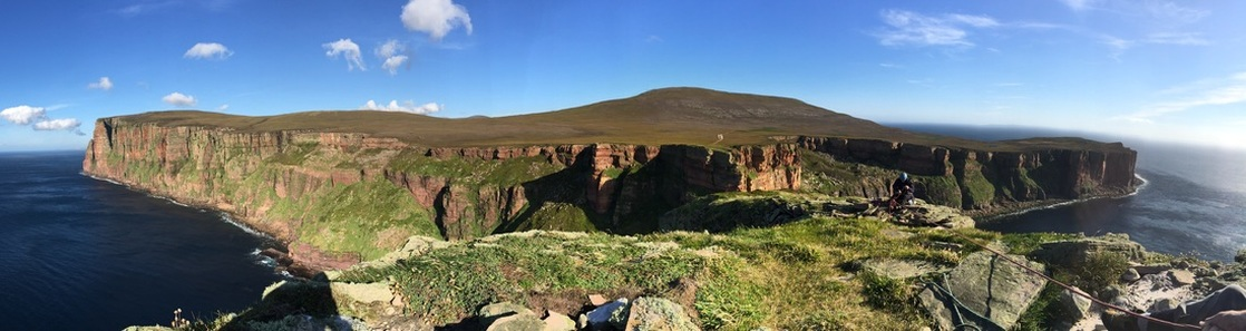 Scottish sea stacks - panoramic view from the Old Man of Hoy