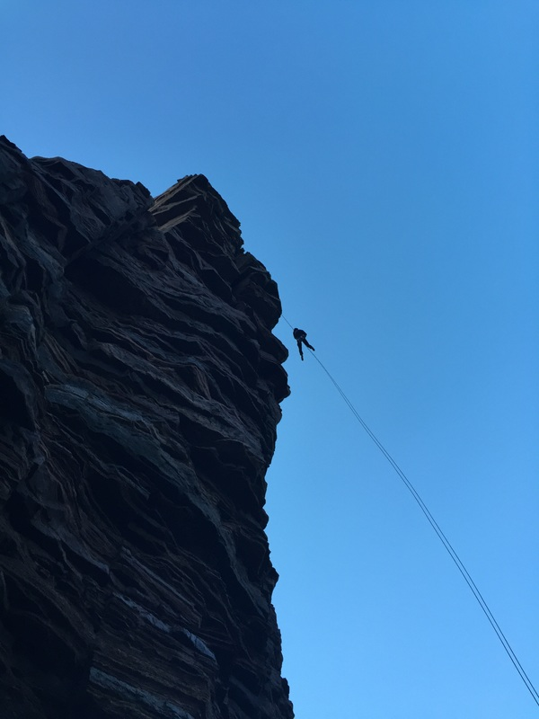 Scottish sea stacks - abseiling off the Old Man of Hoy